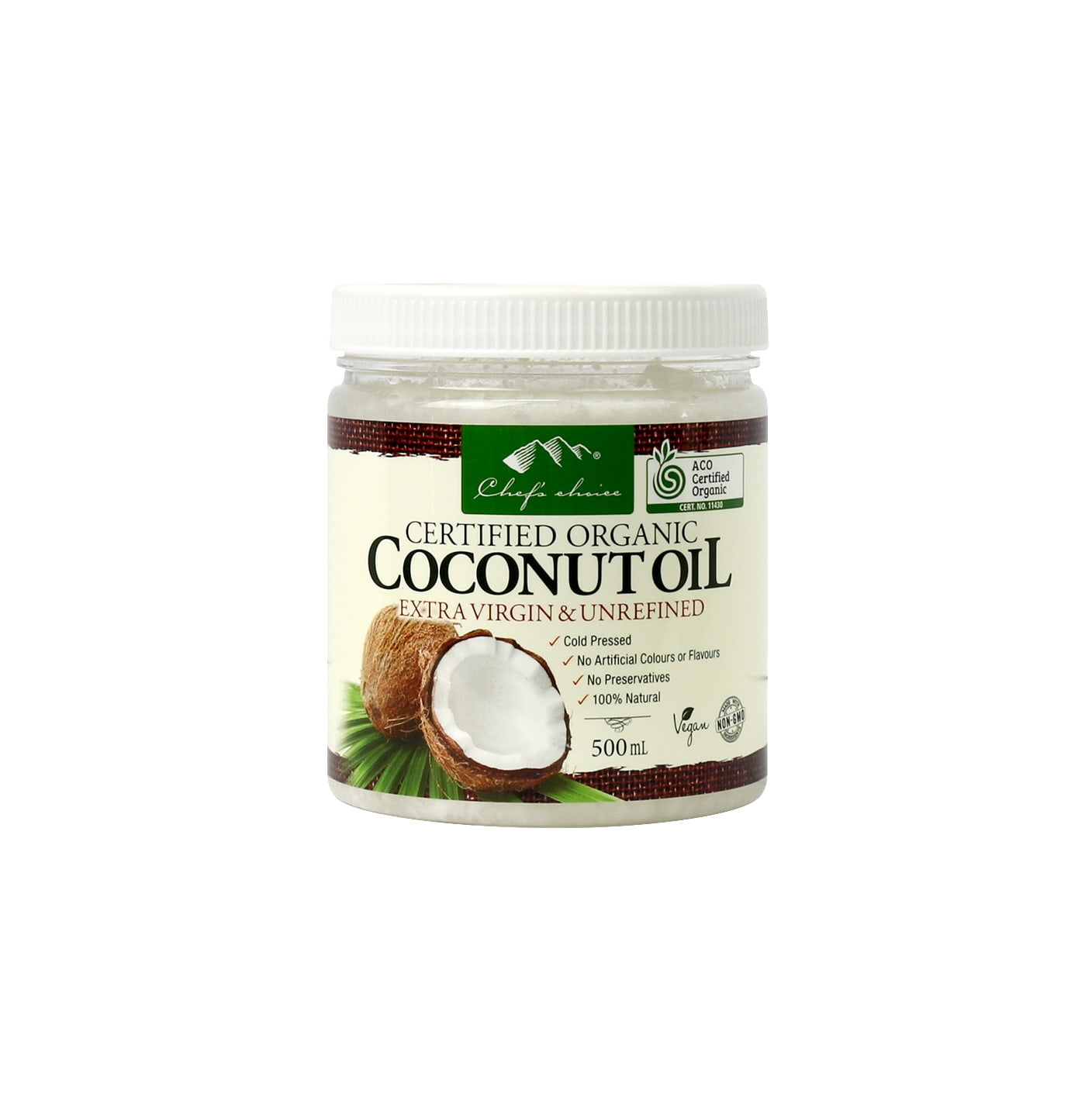 Org Coconut Oil Extra Virgin & Unrefined 500mL