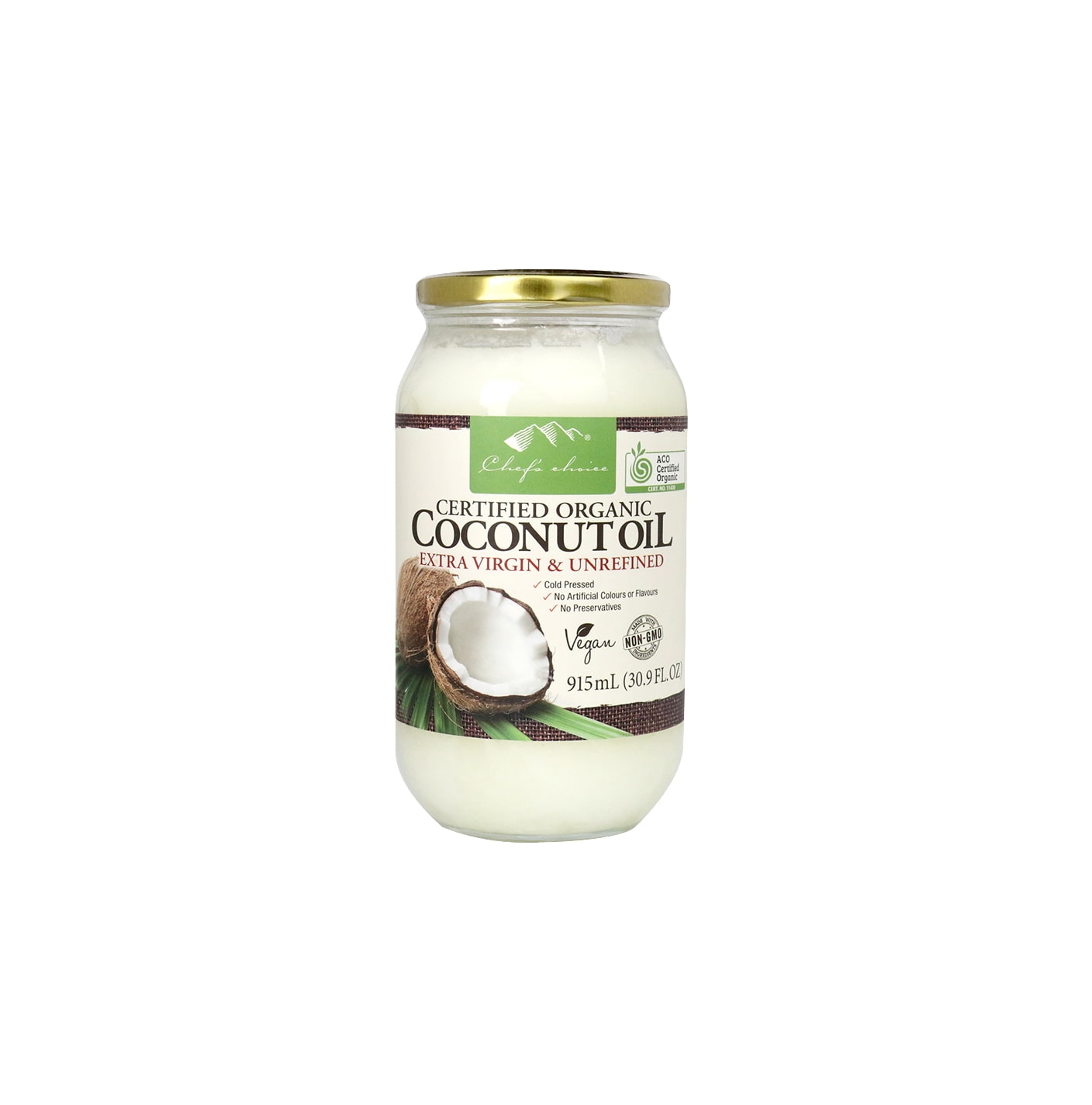 Org Coconut Oil Extra Virgin & Unrefined 915mL