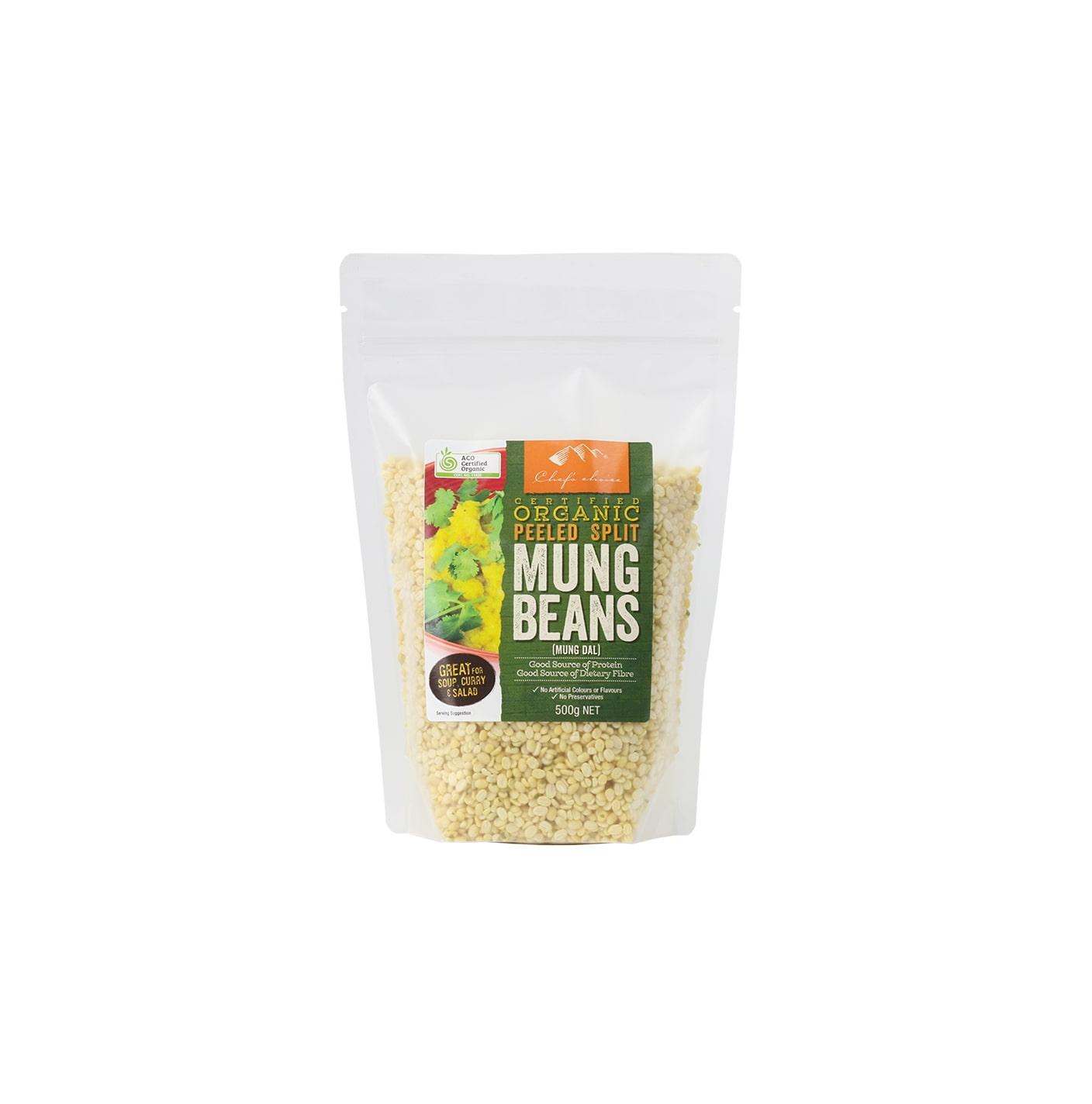 Organic Peeled Split Mung Beans 500g