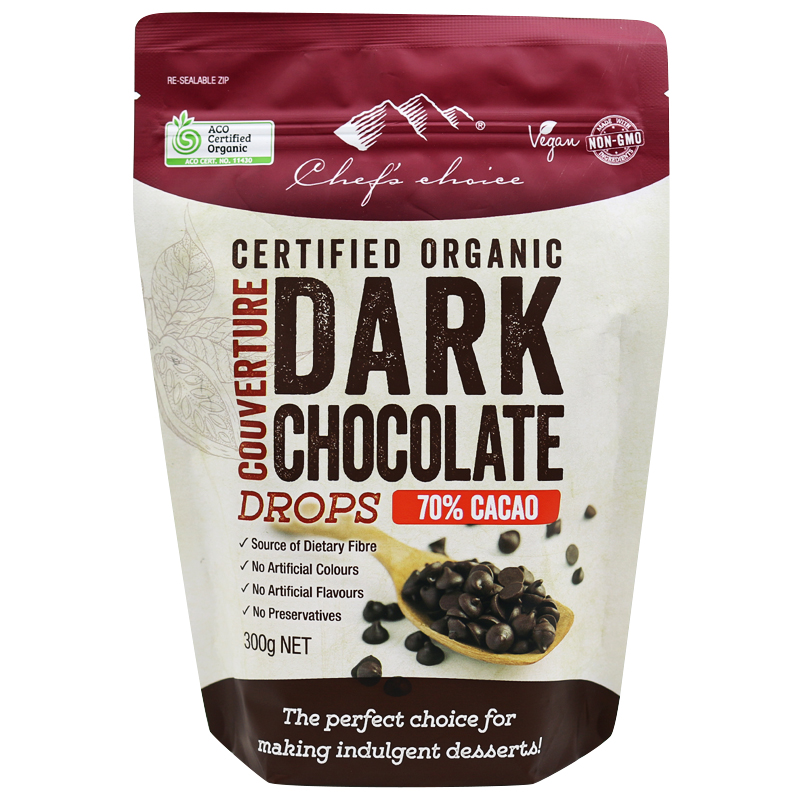 Chef's Choice Certified Organic Dark Chocolate Couverture Drops – 70% Cacao 300g